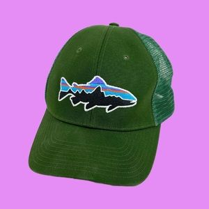 Patagonia Shark Fish Logo Green Trucker Mesh hat